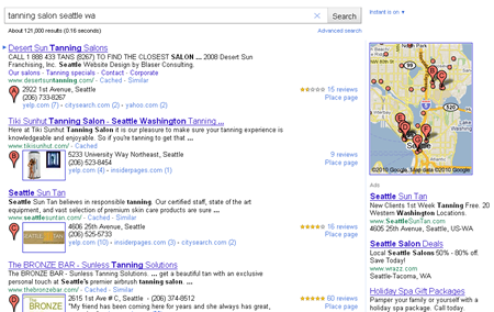 An example of a new local SERP in Google